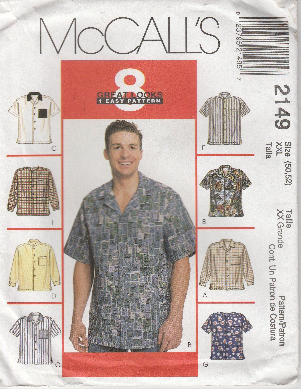 cf3d13b4e Hawaiian Shirt Pattern Casual Camp Shirt Button Pocket Men Size Chest 50 -  52 McCalls 2149 by PrettyfulPatterns on Etsy
