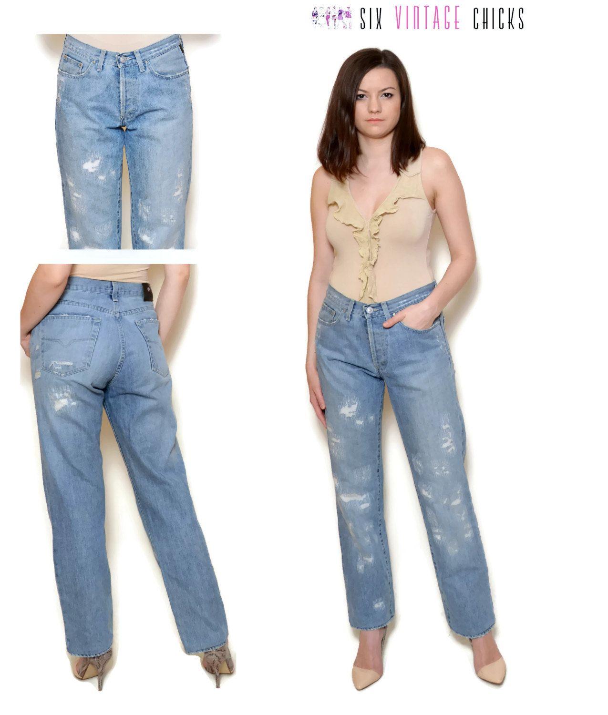 698b8d106d15d high waisted jeans women denim pants distressed jeans ripped rocker 90s  grunge boyfriend jeans blue pants straight leg pants S M by  SixVintageChicks on Etsy
