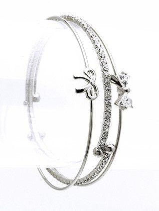 Crystal Bow Cuff Silver