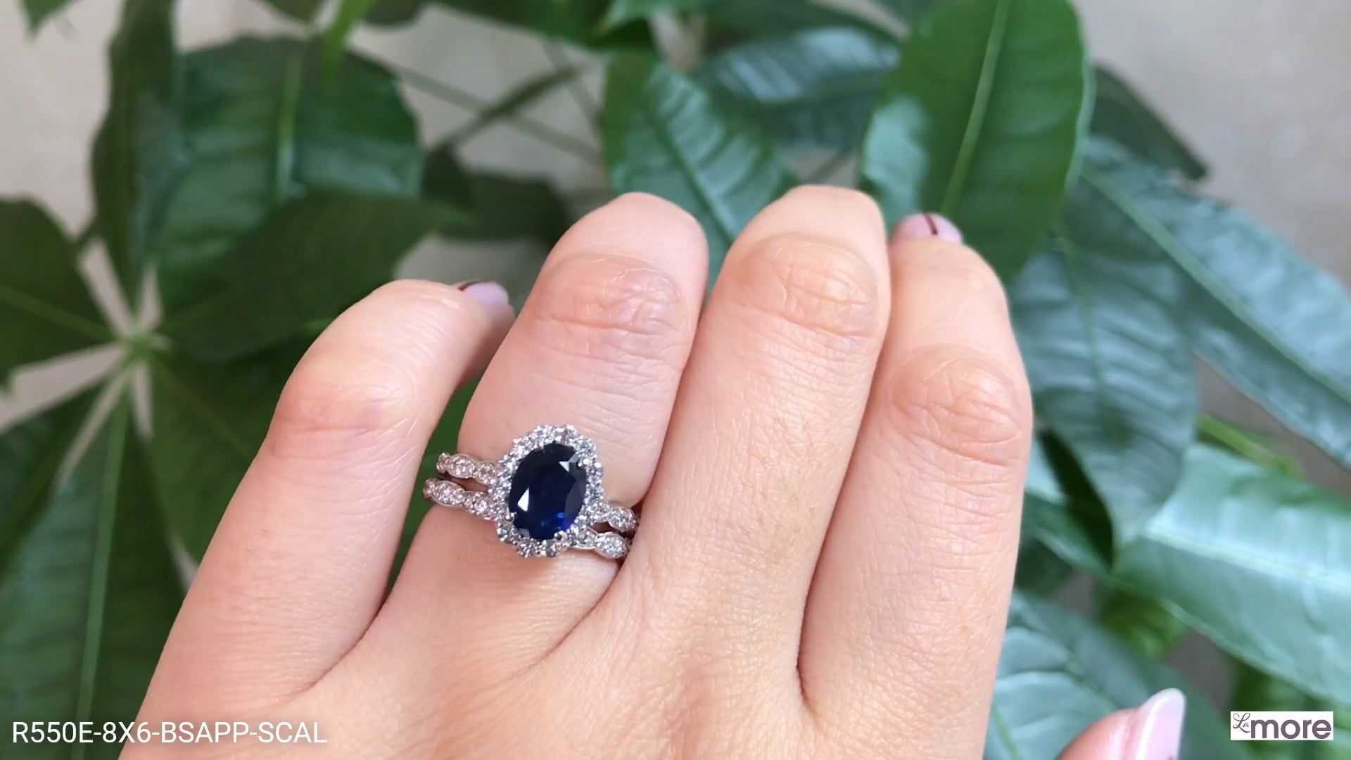 Luna Halo Bridal Set In Scalloped Band W Oval Sapphire And