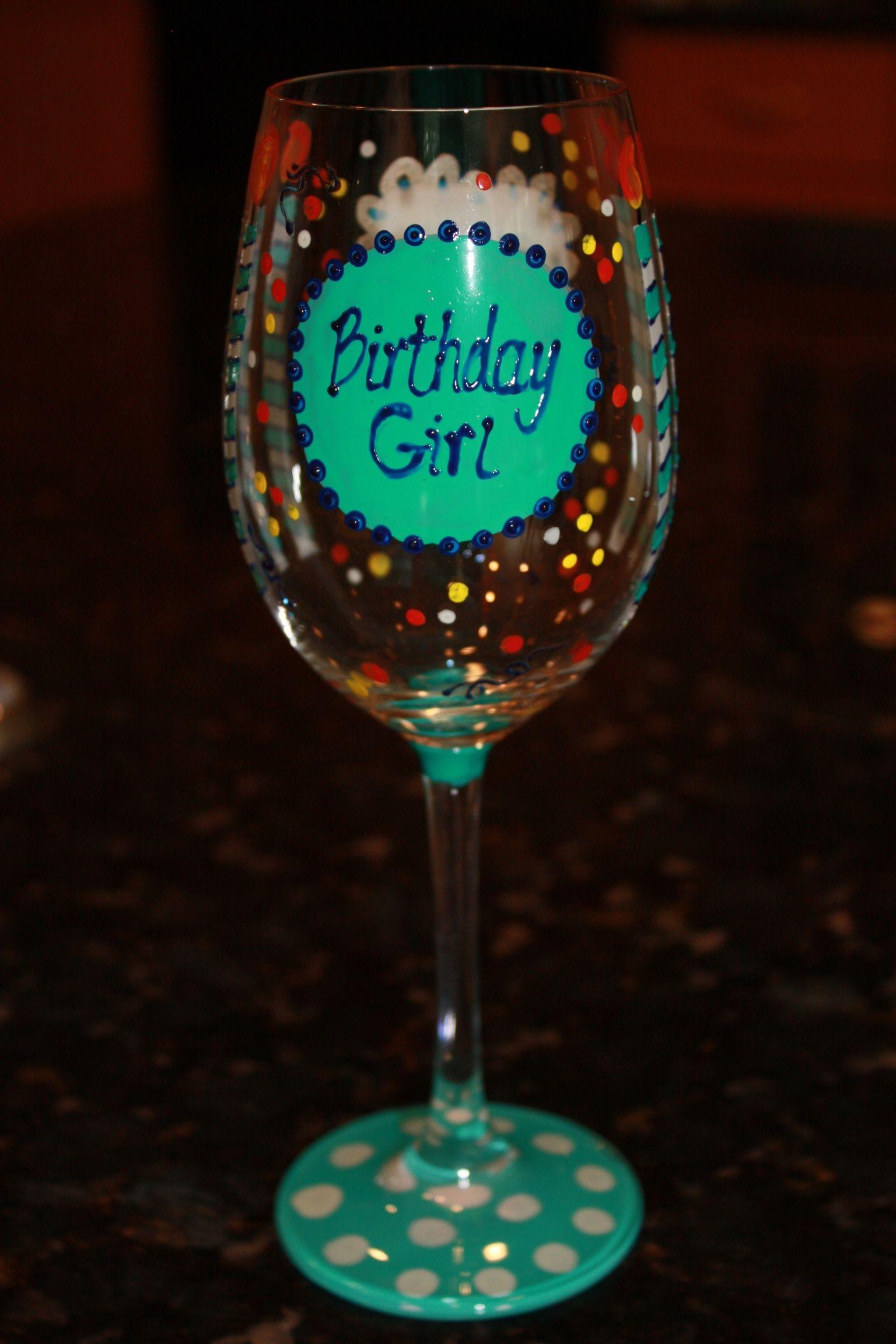 Birthday wine glass Painting glassware, Diy wine glasses