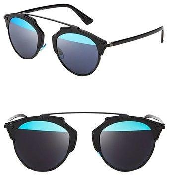 487de50bf5 Black Blue  so Real  48mm Mirrored Black Silver Sunglasses ...