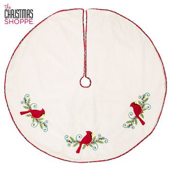Cream Tree Skirt with Cardinals & Holly | Tree skirts ...