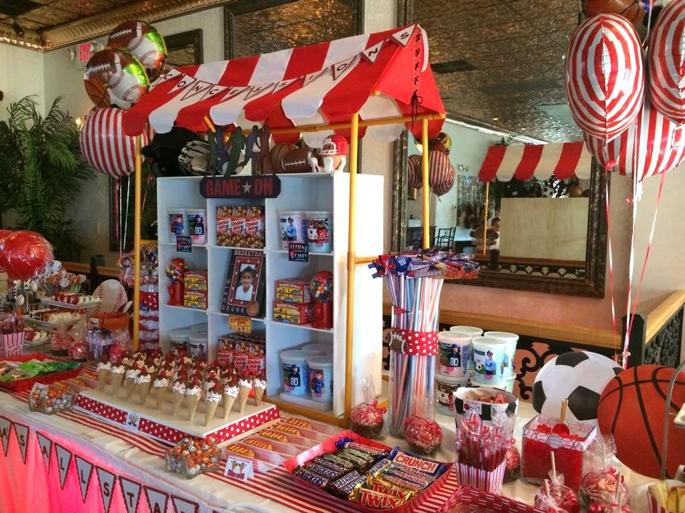 Elegant Sports Concession Stand Candy Table