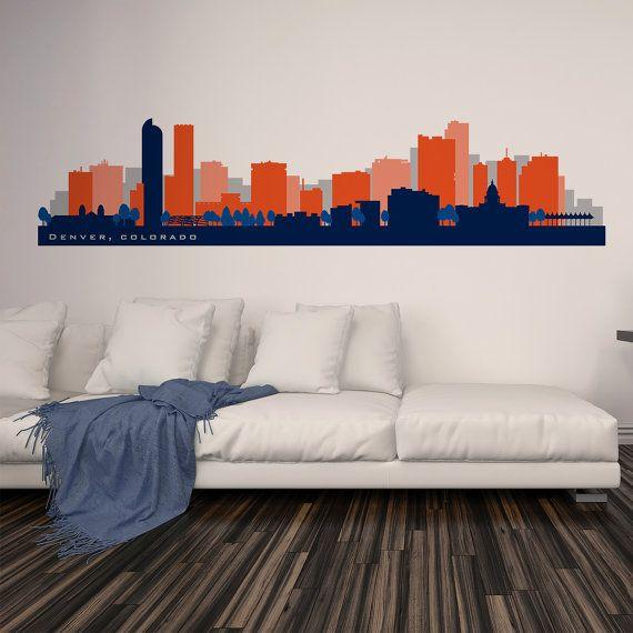Denver Skyline Wall Decal Football & Basketball by