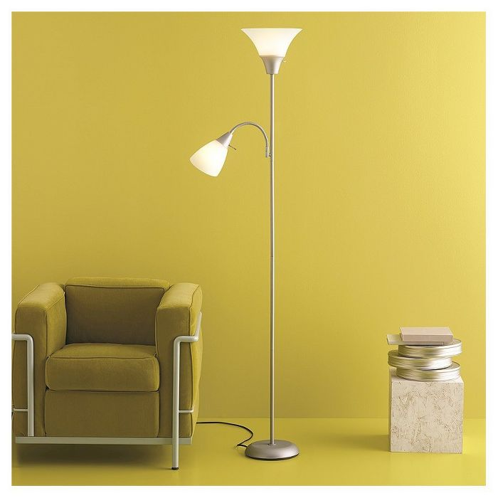 Torchiere With Task Light Floor Lamp Room Essentials In 2020 Floor Lamp Floor Lamp Grey Silver Floor Lamp