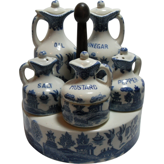 Early 20th Century Japanese Blue Willow Condiment Set