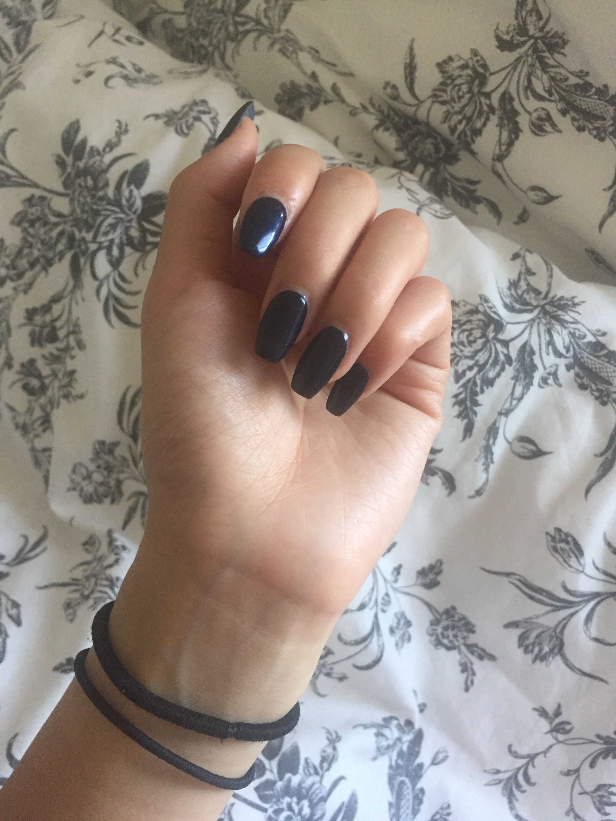 Dark blue coffin nails! Yay or nay? | Nails | Pinterest