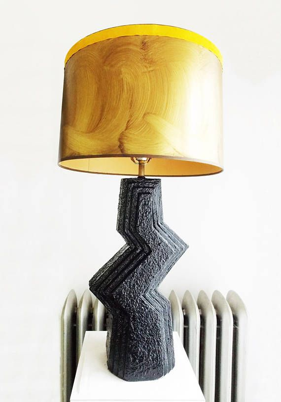 Special Offer Large Vintage 1970s Black Ceramic Zig Zag Lamp 70s Floor Table Lamp With Gold Shade Mid Century Lamp Hollywood Regency Lamp Large Lamp Shade Lamp Large Lamps