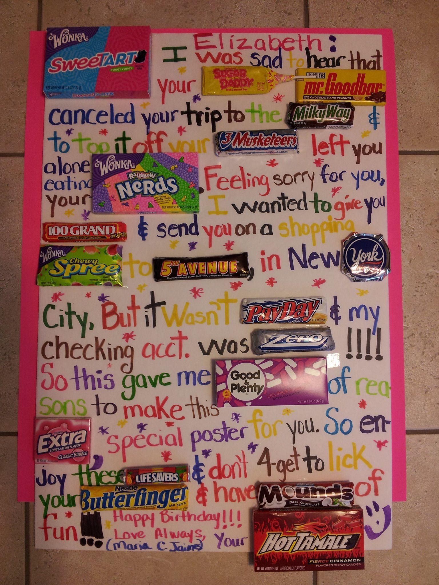 Candy Birthday Poster DIY Birthday Gifts