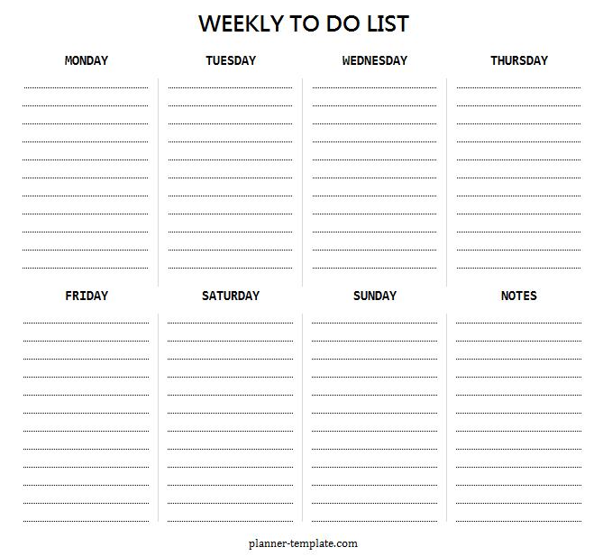 Weekly planner online information