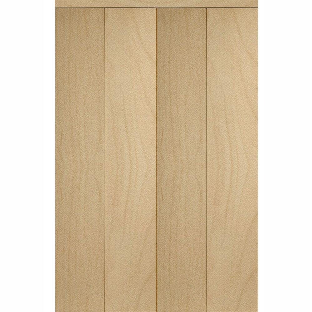 Impact Plus 96 In. X 80 In. Smooth Flush Solid Core Stain Grade Maple MDF  Interior Closet Bi Fold Door With Matching Trim