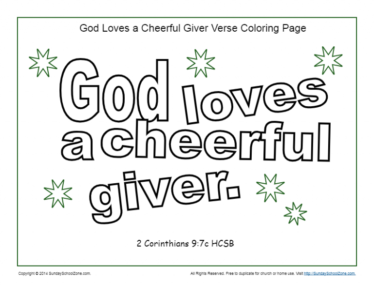 God Loves a Cheerful Giver Coloring Page | children church