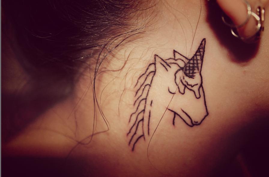 #UNICORN #corn #Tattoo #horse #earrings #neck #necktattoo #BehindEar #lovely #nice #funny #