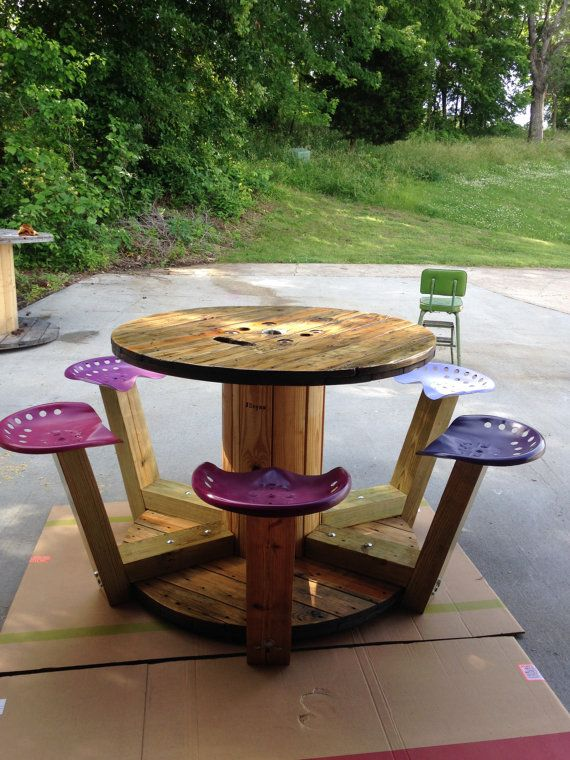 Wood Cable Spool Table With Tractor Seats Custom Order Only No