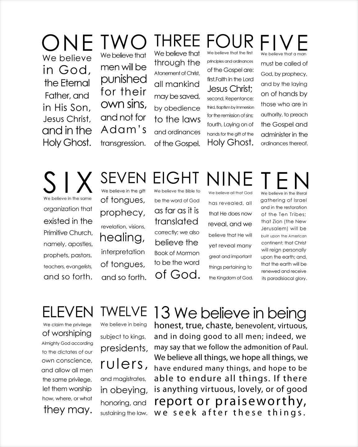 Printable We Believe 13 Articles Of Faith Instant