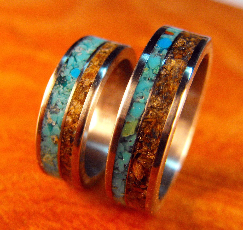 matching wedding band sets Titanium Rings Wedding Rings Turquoise Rings Tigers Eye Rings Wedding Band Set His and Hers Rings Matching Ring Set Mens Wedding Ring