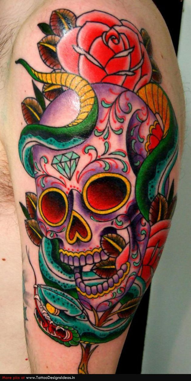 Calavera Tattoo Flash sugar skull tattoo. without the snake | candy skull