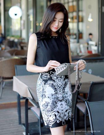 Antique Printed Linen Pencil Skirt Korean Fashion Fashion Women And Feminine