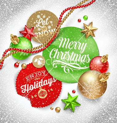 Cardboard labels with christmas greeting and vector - by sergo on