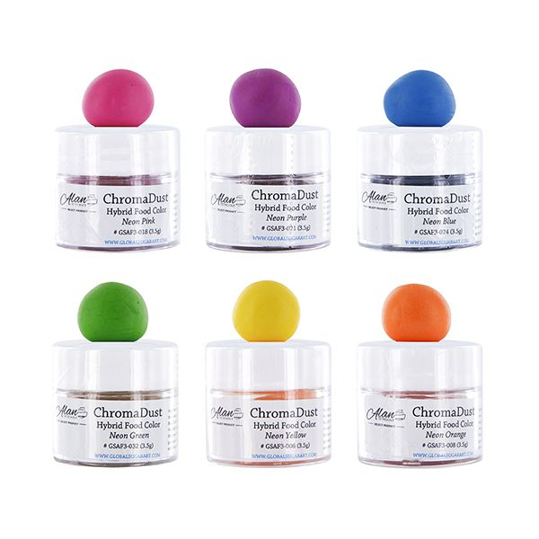 ChromaDust Neon Hybrid Food Color Kit, 6 Colors by Chef Alan ...