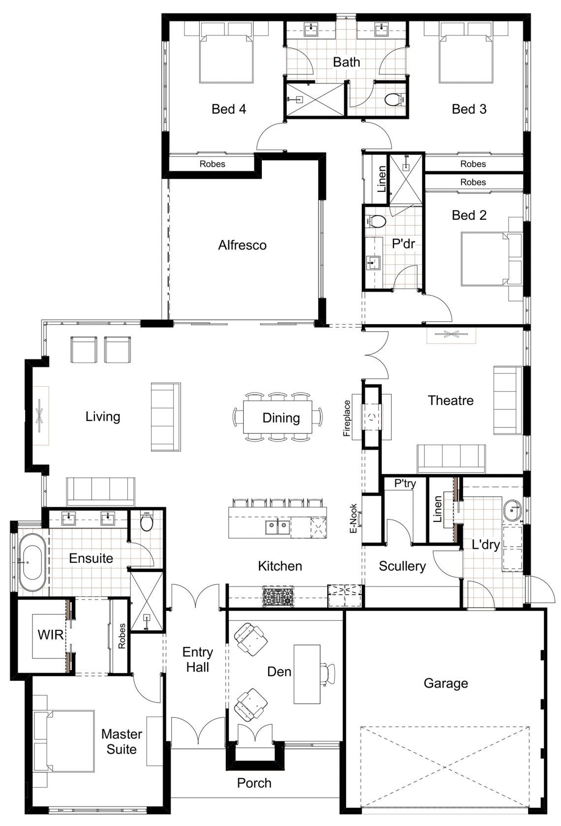 Floor Plan Friday: 4 bedroom, scullery, eNook Hamptons Style