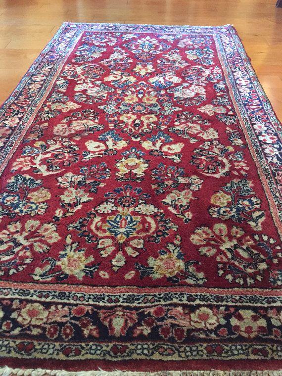 Vintage 1960s Handmade Persian Wool Collectible Oriental Rug 4x6ft Rugs Rug Gallery Rug Store