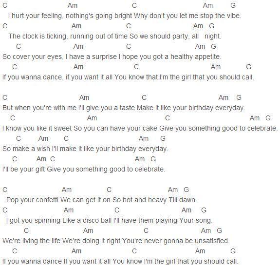 Katy Perry - Birthday Chords Capo 4