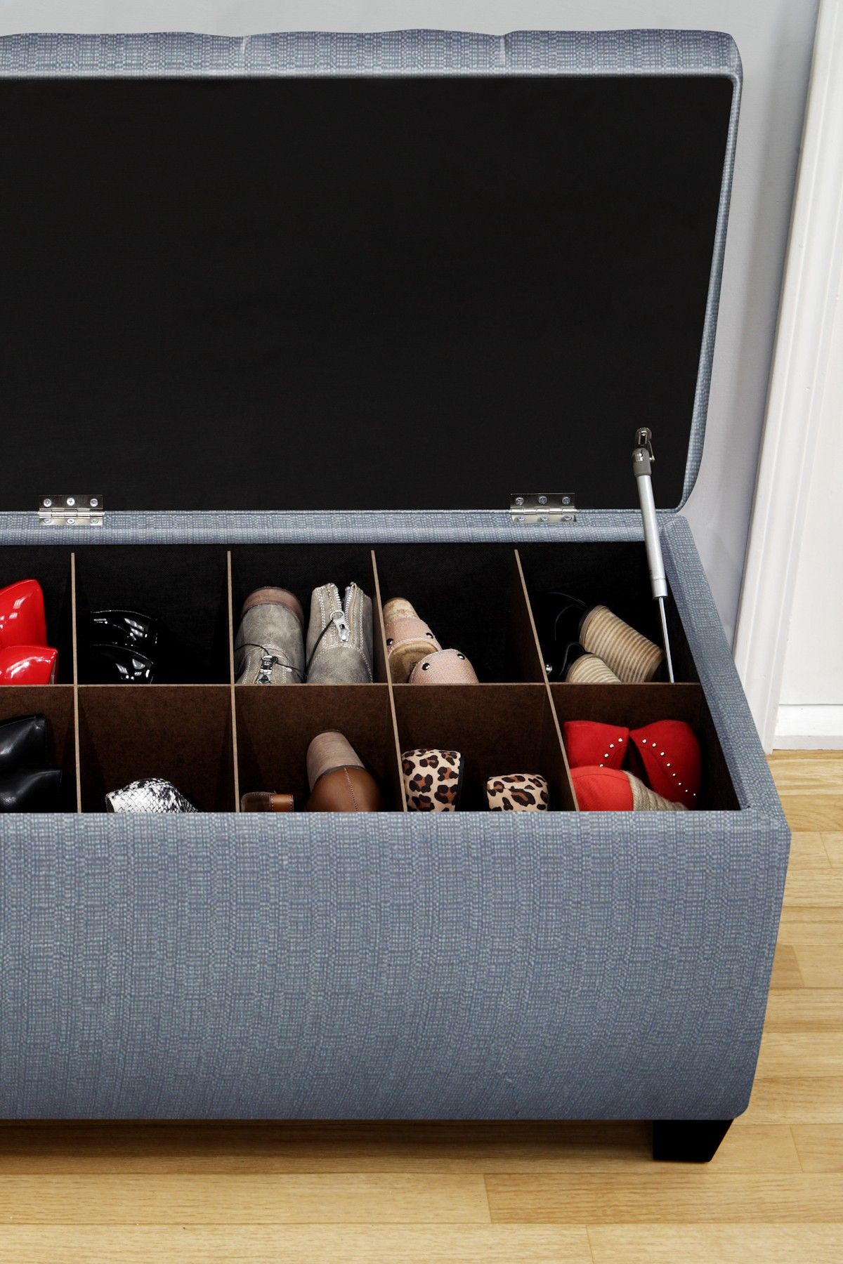 The Sole Secret Blue Upholstered Small Shoe Storage Bench Bench