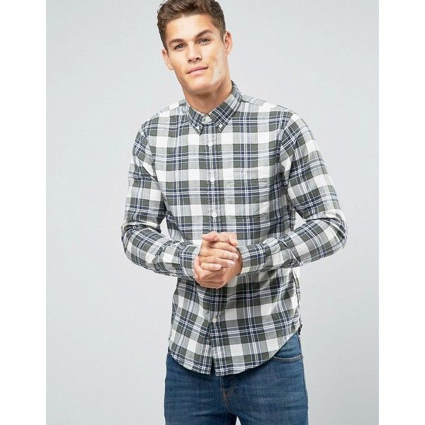Abercrombie & Fitch Slim Plaid Shirt in Green (114 AUD) ❤ liked on Polyvore featuring men's fashion, men's clothing, men's shirts, men's casual shirts, green, mens tall shirts, mens button down collar shirts, men's regular fit shirts, mens slim fit shirts and mens tartan shirt