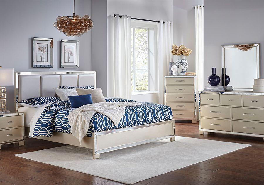 Marilyn Champagne 5 Pc Queen Bedroom Queen Bedroom Furniture
