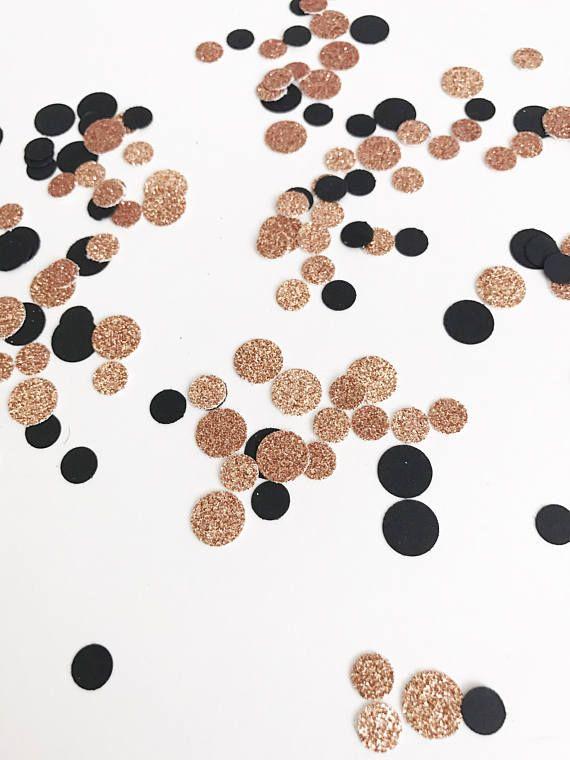 Rose Gold Confetti Black Confetti Round Confetti Glitter Emma\u0027s - confeti