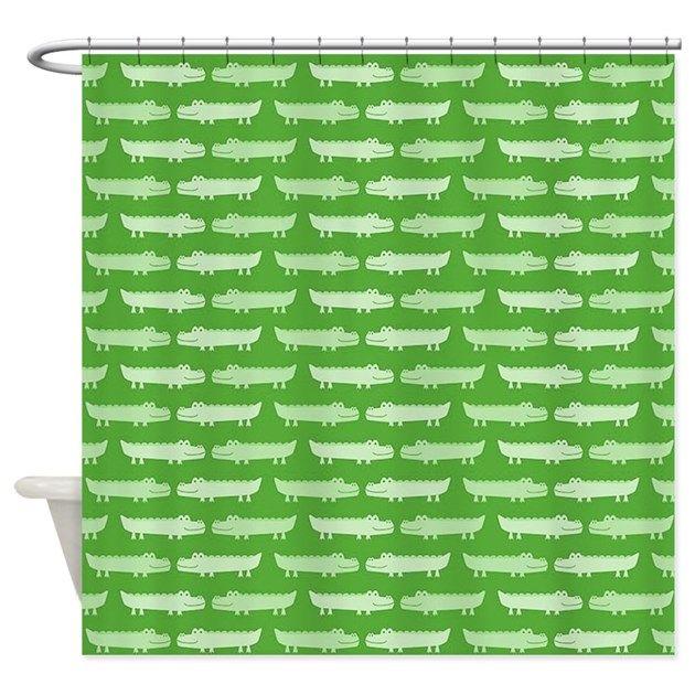Cute Green Alligator Pattern Shower Curtain By Online Gift Ideas