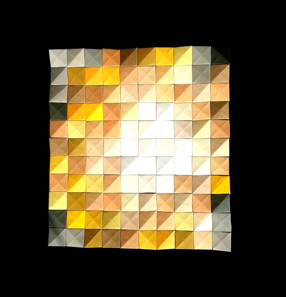 Origami pixels mosaic and DIY wall decor by Corinne Beaubeau. No ...
