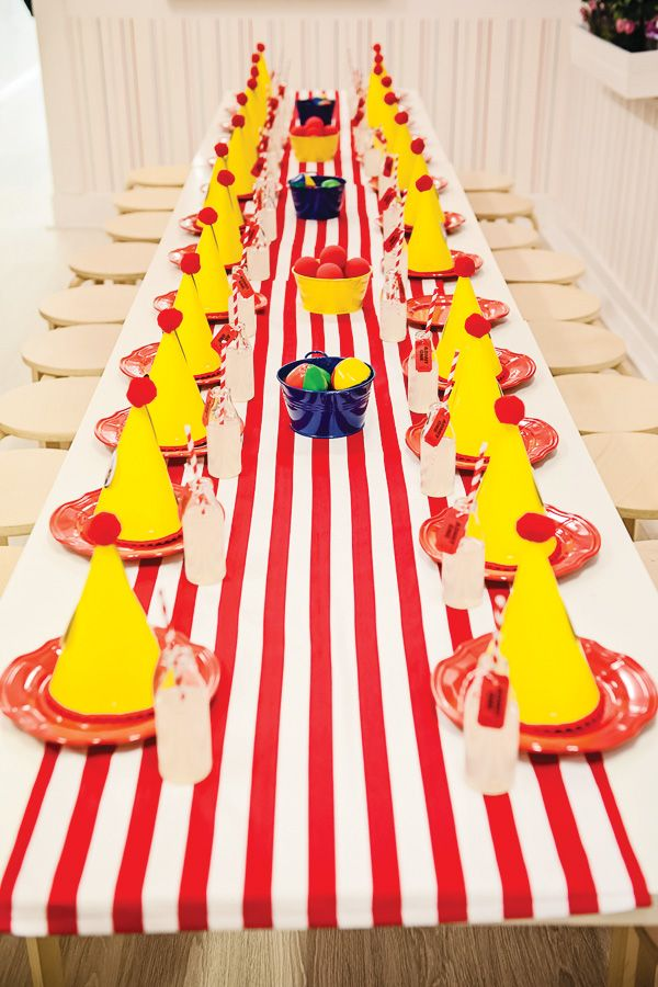 Circus Themed Table Decorations Part - 38: Spectacular Curious George Circus Party - Centerpieces