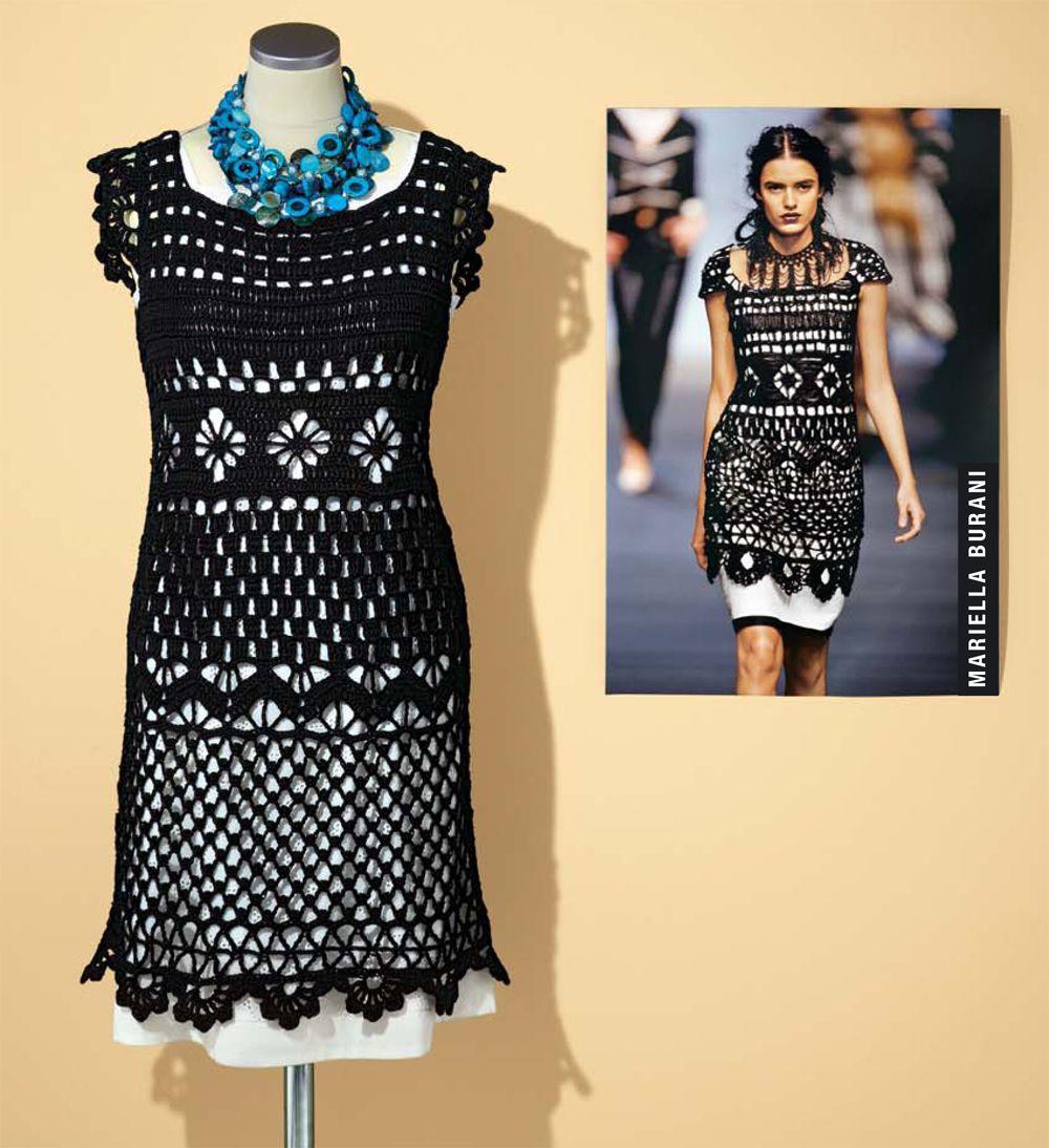 Kleid im Stil von Mariella Burani häkeln   Häkelanleitung, Modell ...