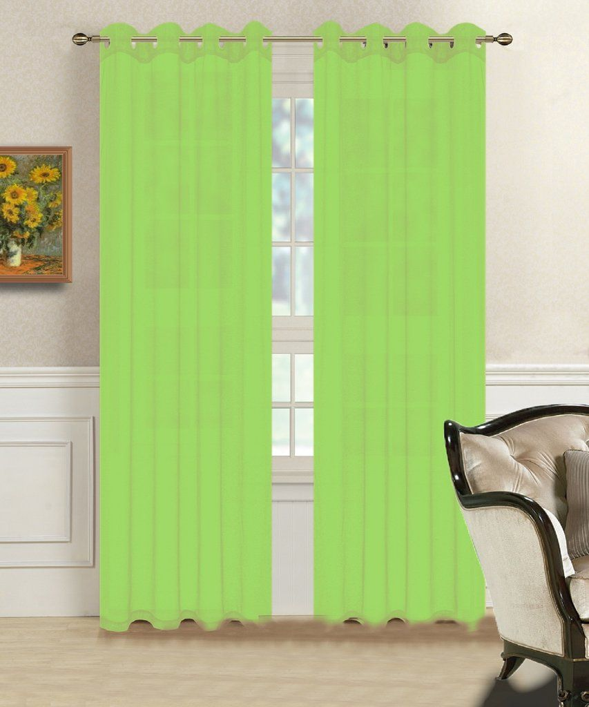Warm Home Designs 1 Pair Of Lime Green Voile Sheer Window Curtains