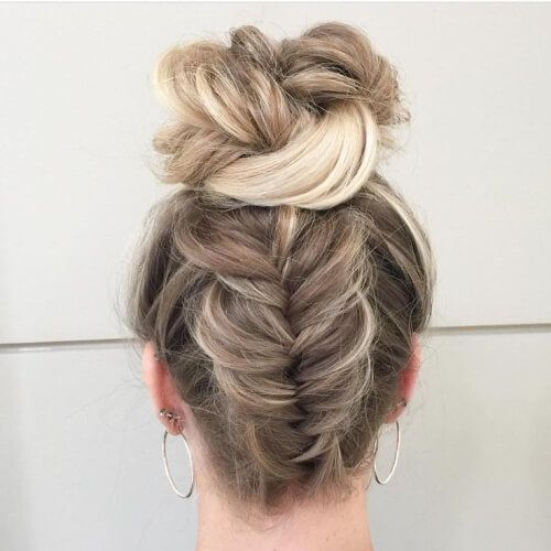 Reverse Fishtail Braid And Bun Hairstyles Long Hair Styles Hair Styles Curly Hair Styles