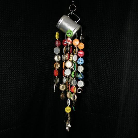 Bottle cap wind chime recycled materials cap bottle for Wind chimes from recycled materials