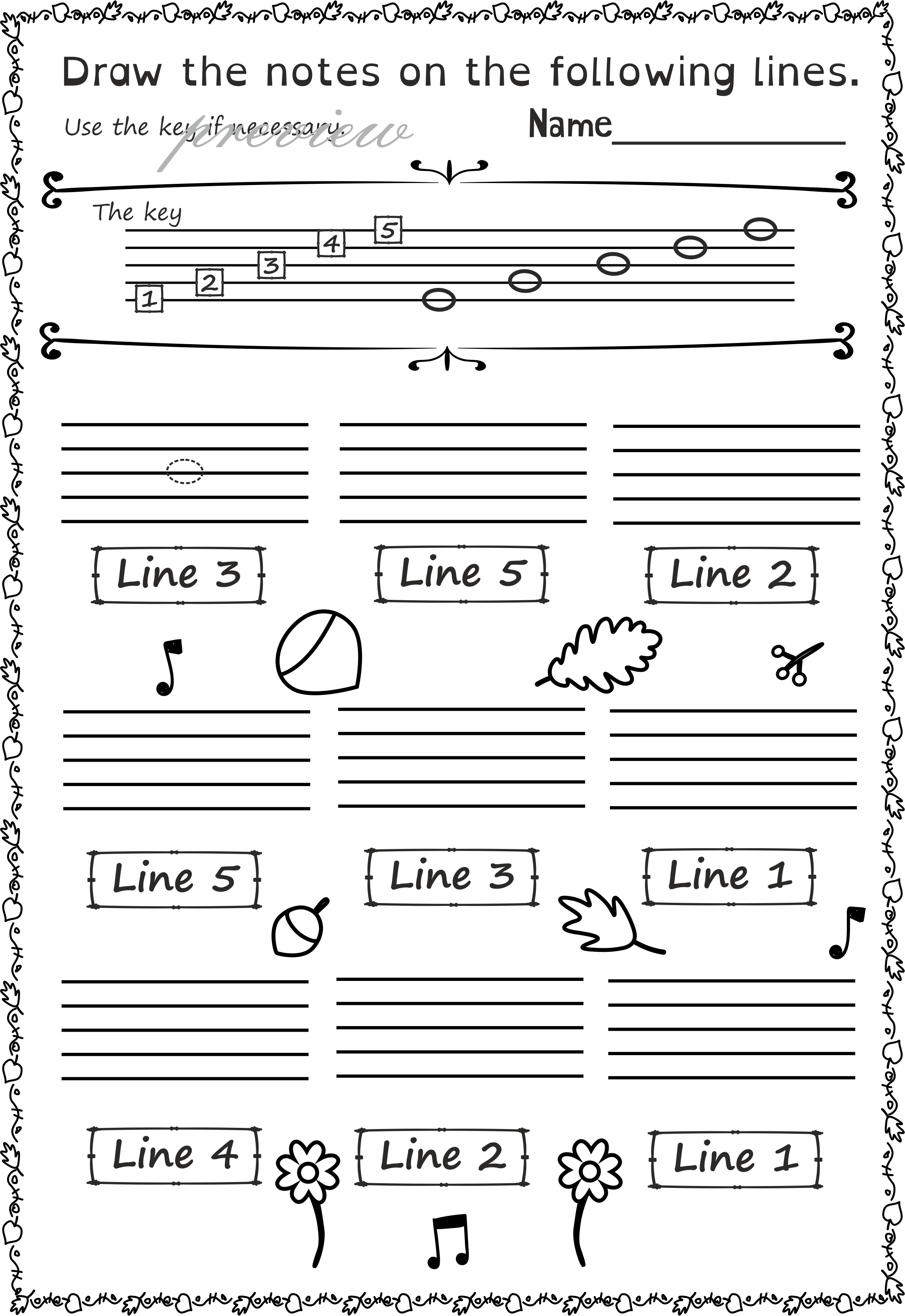 Fall Music Worksheets Pack Line Space High Low