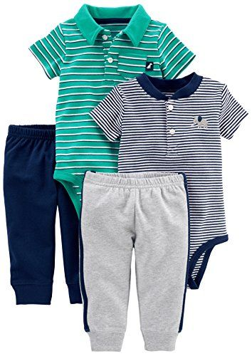 Top and Pant Set Simple Joys by Carters Baby Boys 4-Piece Bodysuit