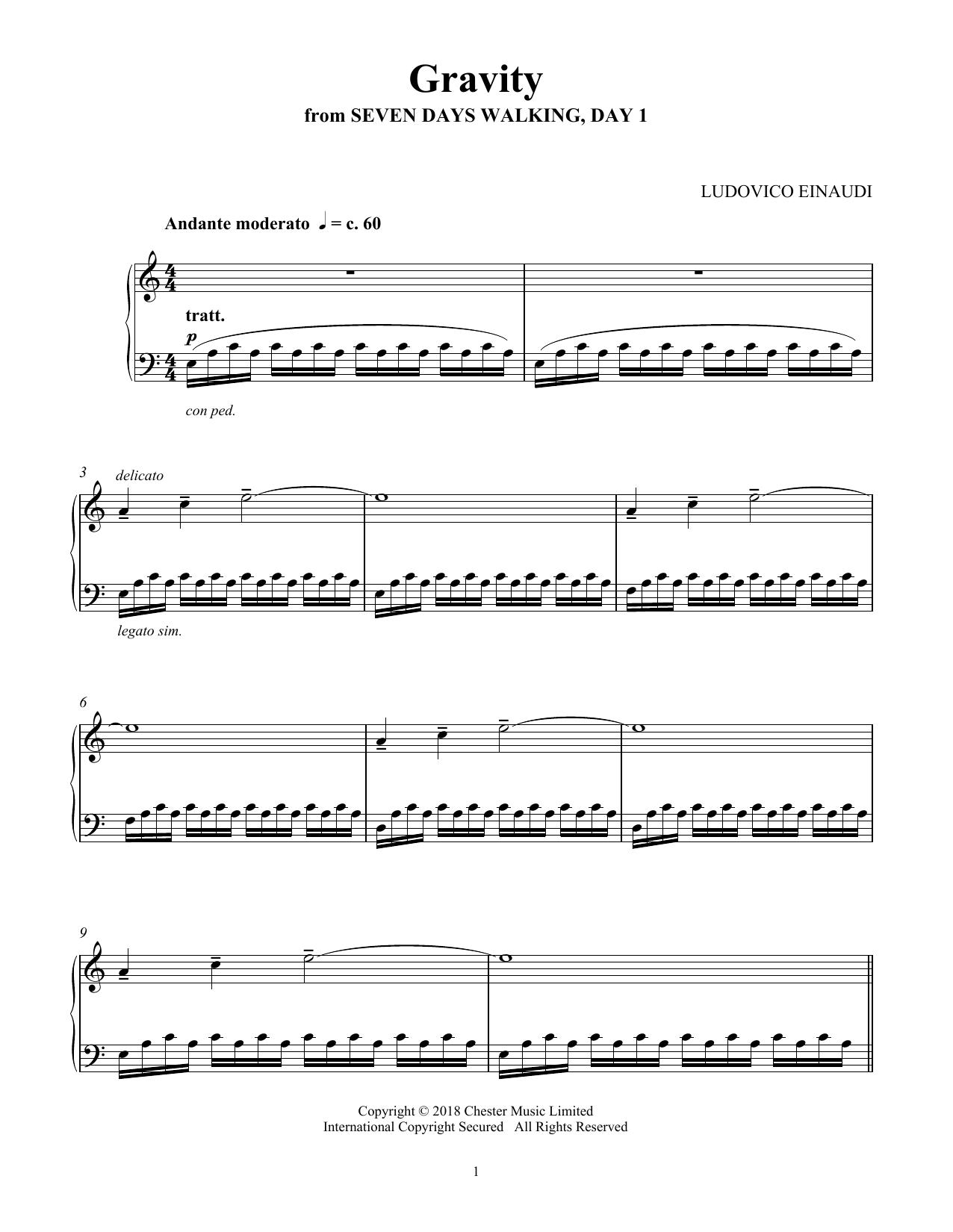 Ludovico Einaudi Gravity From Seven Days Walking Day 1 Sheet Music Notes Chords Score Download Printable Pdf Sheet Music Sheet Music Notes Digital Sheet Music