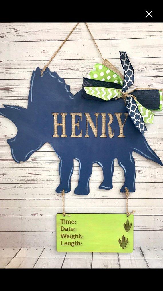 PERSONALISED DINOSAUR NAME PLAQUE DOOR SIGN  boy baby cute animal wooden blue