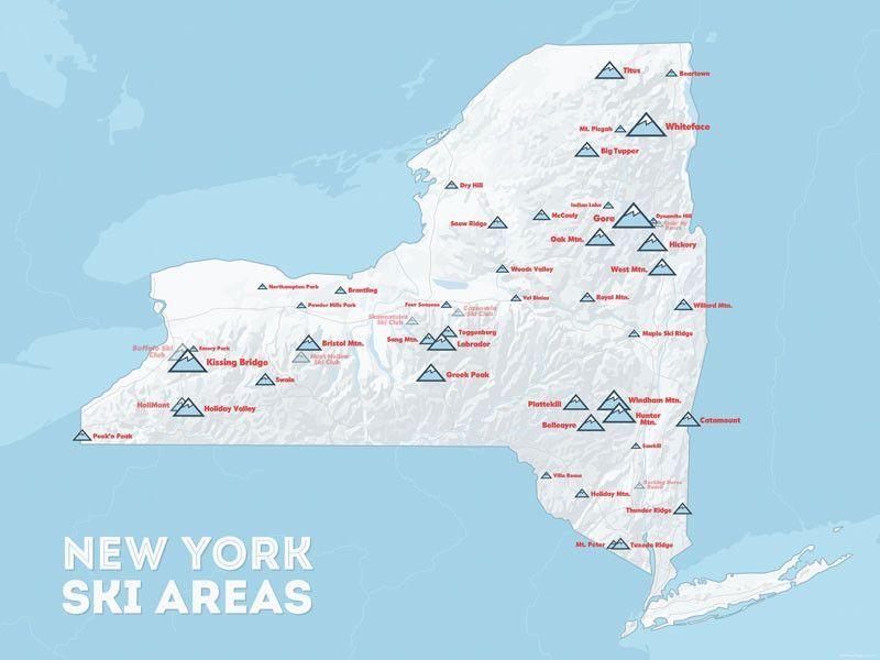 ski resorts new york map New York Ski Resorts Map 18x24 Poster Skiing Map Of New York Map
