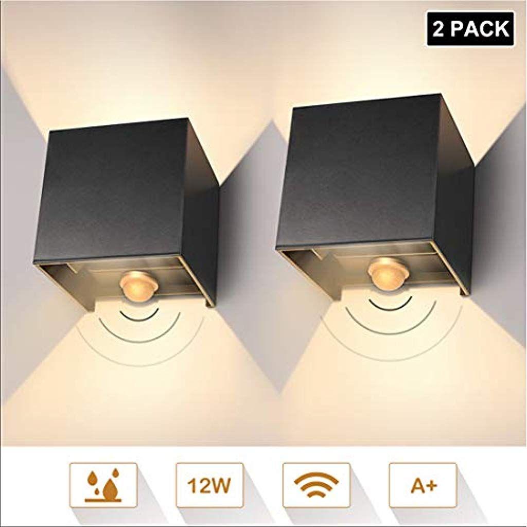 Led Wandleuchte 12w Ip65 Mit Bewegungsmelder 2er Pack Modern High Bright Warmweiss Wandlampe Mit Einstellbar Abstrahlwinkel Led Wan Led Wall Lamp Wall Lamp Wall