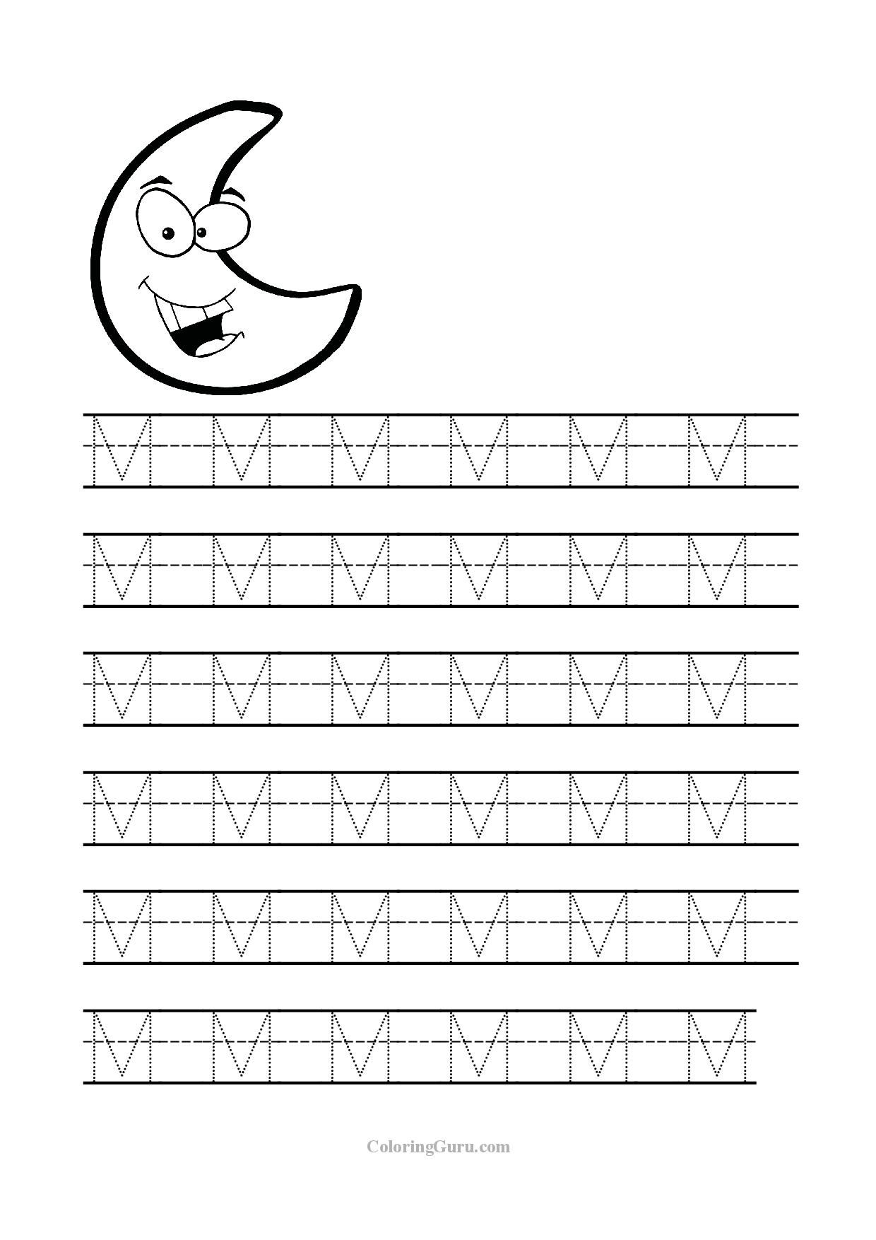 Free Printable Tracing Letter M Worksheets For Preschool Tracing