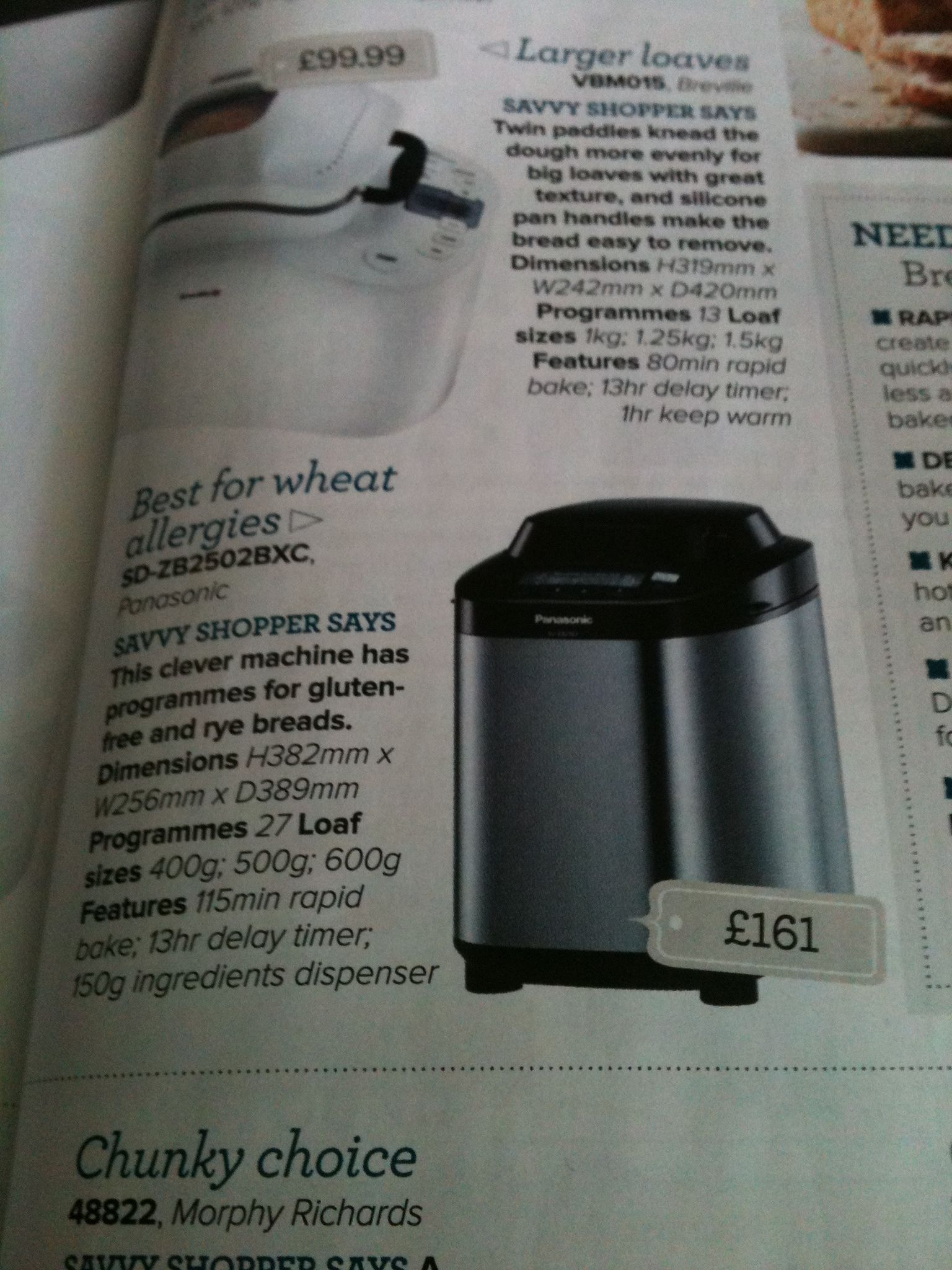 Bread maker with gluten free programme for julia