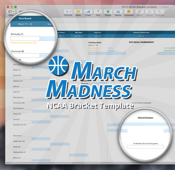 NCAA March Madness Bracket Template March madness