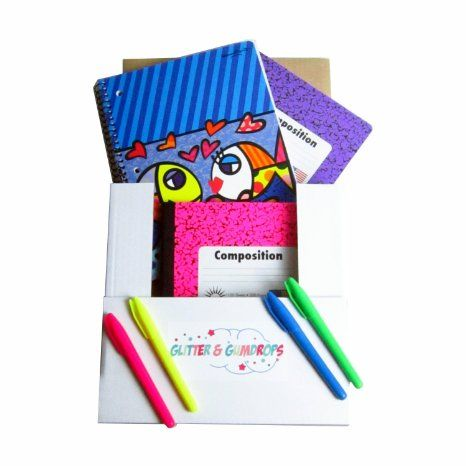 School Supplies For Girls  2 Composition Books Neon College