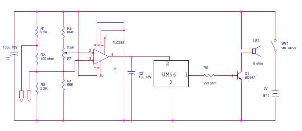 Continuity tester with melody circuit diagram circuits and here is the circuit diagram and working of continuity tester which is used to check broken wires undesired shorting and discontinuity of wires ccuart Choice Image